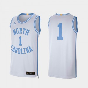 For Men's North Carolina #1 White Retro Limited College Basketball Jersey 593908-580