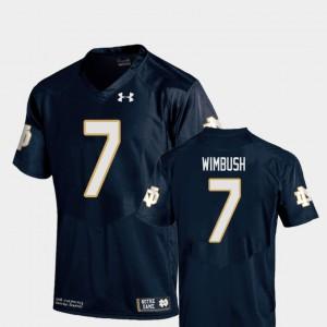 For Men University of Notre Dame #7 Brandon Wimbush Navy College Football Replica Jersey 293315-355