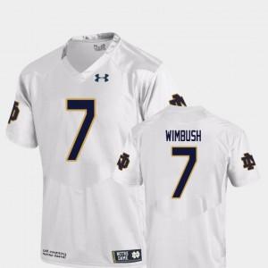 For Men's Notre Dame Fighting Irish #7 Brandon Wimbush White College Football Replica Jersey 407326-723