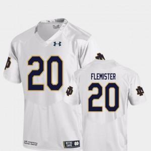 Men University of Notre Dame #20 C'Bo Flemister White College Football Replica Jersey 811220-463
