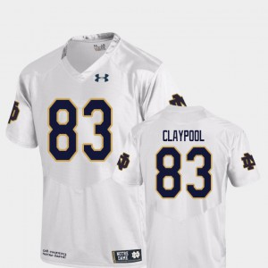 For Men Fighting Irish #83 Chase Claypool White College Football Replica Jersey 566468-299