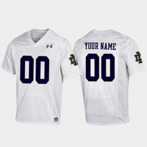 For Men's University of Notre Dame #00 White Replica Football Customized Jersey 883118-152
