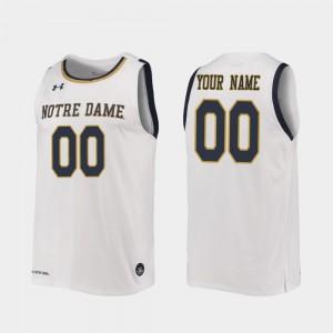 For Men's Fighting Irish #00 White Replica 2019-20 College Basketball Custom Jersey 425526-504