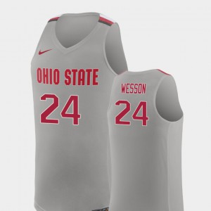 Men OSU Buckeyes #24 Andre Wesson Pure Gray Replica College Basketball Jersey 388820-291