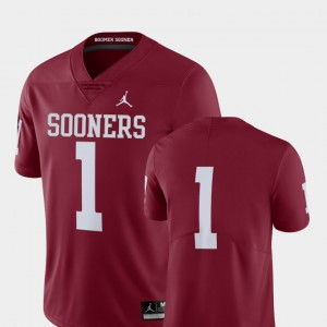 Men's Oklahoma #1 Crimson College Football Limited Jersey 782162-772