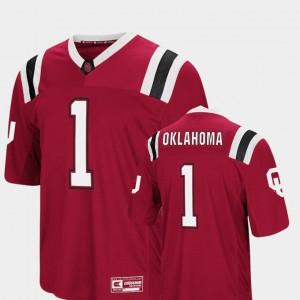 Mens Oklahoma Sooners #1 Crimson Foos-Ball Football Colosseum Jersey 783874-511