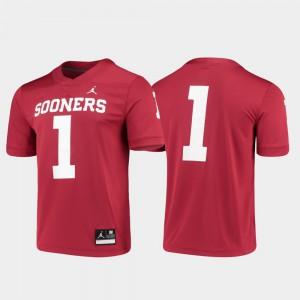 For Men University Of Oklahoma #1 Crimson Game Jersey 873369-336