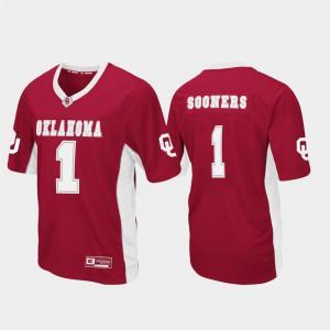 Men's Oklahoma #1 Crimson Max Power Football Jersey 915370-443
