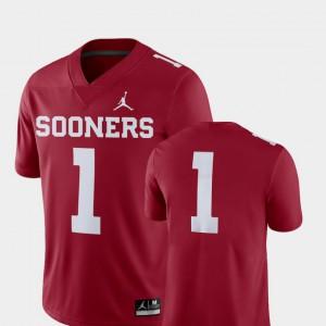 Men's Oklahoma Sooners #1 Crimson College Football 2018 Game Jersey 389282-717