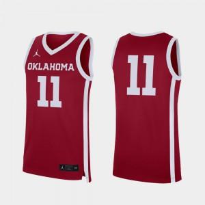 For Men's Oklahoma Sooners #11 Crimson Replica College Basketball Jersey 757969-288