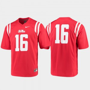 For Men's Ole Miss #16 Red Game College Football Jersey 174432-228