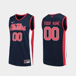 Men Ole Miss #00 Navy Replica College Basketball Customized Jerseys 719528-456