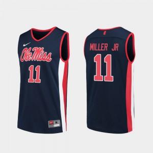 Mens Ole Miss #11 Franco Miller Jr. Navy Replica College Basketball Jersey 257098-743