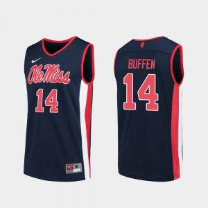 For Men Ole Miss #14 KJ Buffen Navy Replica College Basketball Jersey 238714-409
