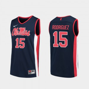 For Men's Ole Miss #15 Luis Rodriguez Navy Replica College Basketball Jersey 801214-801