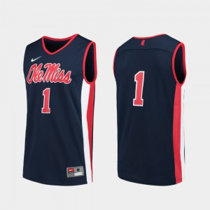 For Men Ole Miss #1 Navy Replica College Basketball Jersey 985651-558