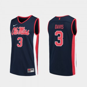 For Men's Ole Miss Rebels #3 Terence Davis Navy Replica College Basketball Jersey 545581-519
