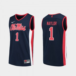 For Men's Ole Miss #1 Zach Naylor Navy Replica College Basketball Jersey 259606-598