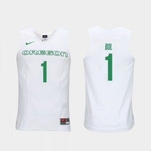 For Men's Oregon #1 Bol Bol White Authentic Performace Elite Authentic Performance College Basketball Jersey 960193-707
