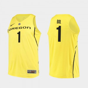 Men's UO #1 Bol Bol Yellow Authentic College Basketball Jersey 894548-756