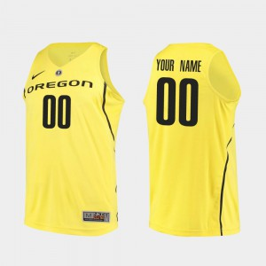 Men's Oregon Duck #00 Yellow Authentic College Basketball Customized Jerseys 350106-884