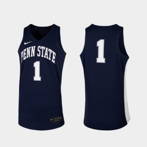 Men Nittany Lions #1 Navy Replica College Basketball Jersey 784832-776