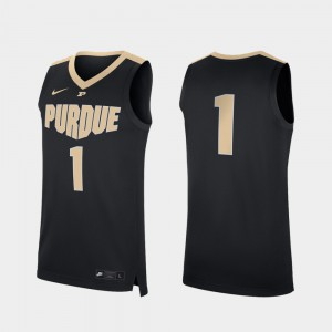For Men Purdue University #1 Black Replica College Basketball Jersey 533528-463