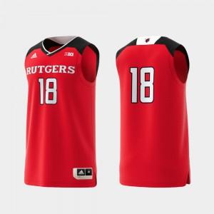 Mens Rutgers University #18 Scarlet Basketball Swingman College Replica Jersey 500604-212