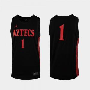 Men San Diego State #1 Black Replica College Basketball Jersey 579077-329