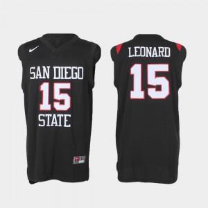Men's San Diego State Aztecs #15 Kawhi Leonard Black Authentic College Basketball Jersey 514951-655