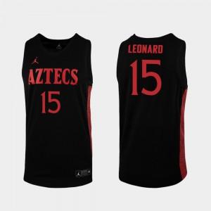 Mens San Diego State Aztecs #15 Kawhi Leonard Black Replica 2019-20 College Basketball Jersey 726652-814