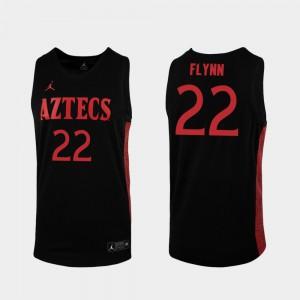 For Men's San Diego State #22 Malachi Flynn Black Replica 2019-20 College Basketball Jersey 200768-808