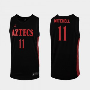 For Men San Diego State Aztecs #11 Matt Mitchell Black Replica 2019-20 College Basketball Jersey 565629-446