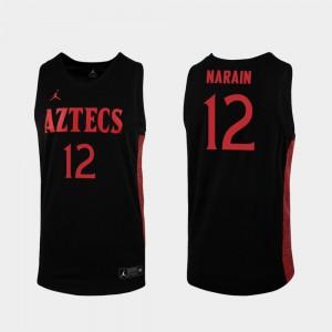 Men's San Diego State #12 Nolan Narain Black Replica 2019-20 College Basketball Jersey 642042-623