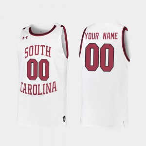 Men's USC Gamecock #00 White Replica 2019-20 College Basketball Custom Jerseys 507875-852