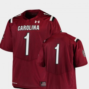 Mens USC Gamecocks #1 Garnet College Football Team Replica Jersey 351210-803
