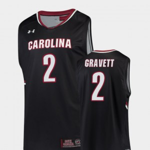 Mens Gamecocks #2 Hassani Gravett Black Replica College Basketball Jersey 317735-643