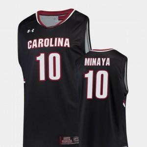 Men University of South Carolina #10 Justin Minaya Black Replica College Basketball Jersey 418613-500