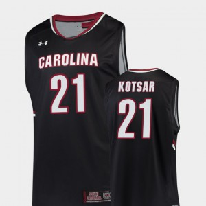 Mens South Carolina Gamecocks #21 Maik Kotsar Black Replica College Basketball Jersey 836482-361