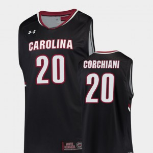 For Men's Gamecock #20 Tommy Corchiani Black Replica College Basketball Jersey 924764-629