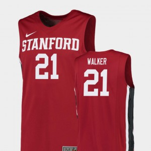 Mens Stanford #21 Cameron Walker Red Replica College Basketball Jersey 318517-595