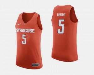 For Men's Syracuse #5 Patrick Herlihy Orange College Basketball Jersey 583614-626