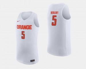 Mens Syracuse #5 Patrick Herlihy White College Basketball Jersey 296747-414