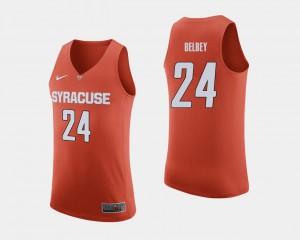 Mens Syracuse University #24 Shaun Belbey Orange College Basketball Jersey 772909-515
