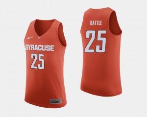 Mens Syracuse University #25 Tyus Battle Orange College Basketball Jersey 481161-732