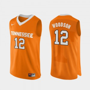 Men Tennessee Vols #12 Brad Woodson Orange Authentic Performace College Basketball Jersey 255059-358