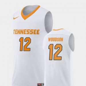 For Men's Tennessee Volunteers #12 Brad Woodson White Replica College Basketball Jersey 483567-226