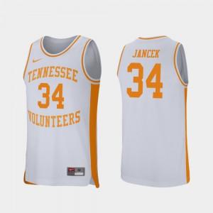 For Men's Tennessee Vols #34 Brock Jancek White Retro Performance College Basketball Jersey 495578-568
