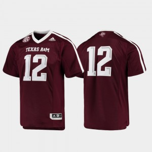 Mens Texas A&M #12 Maroon Premier Football Jersey 776072-592