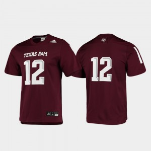 For Men's Aggies #12 Maroon Replica Football Jersey 966478-838